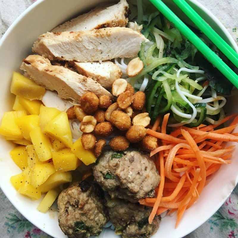 Chicken and Meatball Noodle Bowl