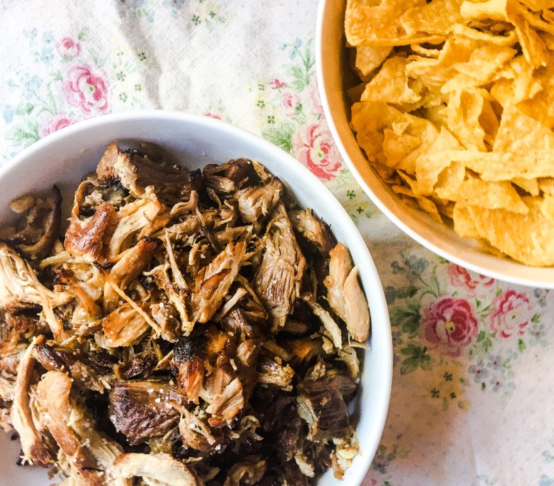 Roasted Instapot Pork and Juanitas Chips