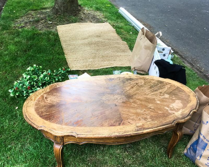 vintage table garage sale