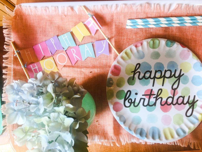 Charlotte Birthday Plate and Flowers