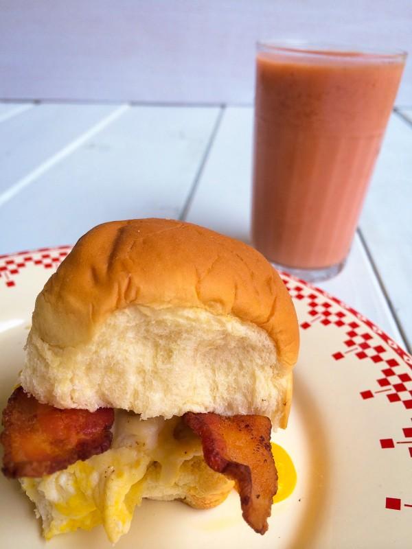 Breakfast Sandwich on Hawaiian Bread