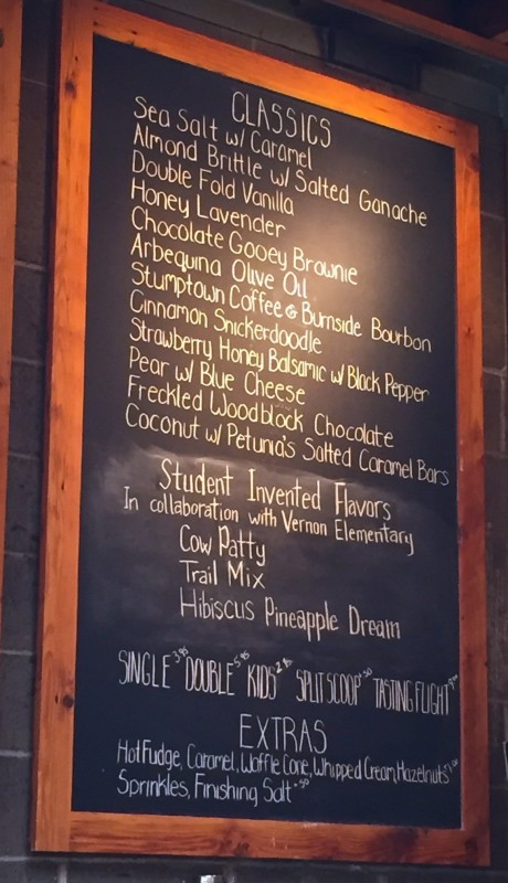 Salt and Straw Menu, Portland