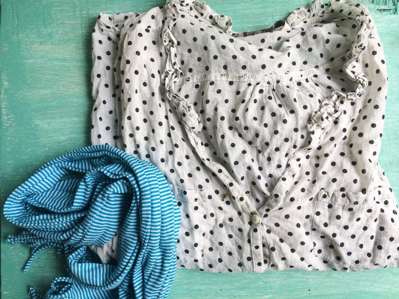 April Goodwill Bin Finds - Shirt and Scarf