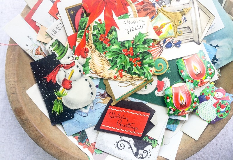 Wood Bowl and Vintage Holiday Cards from Portland Goodwill Bins