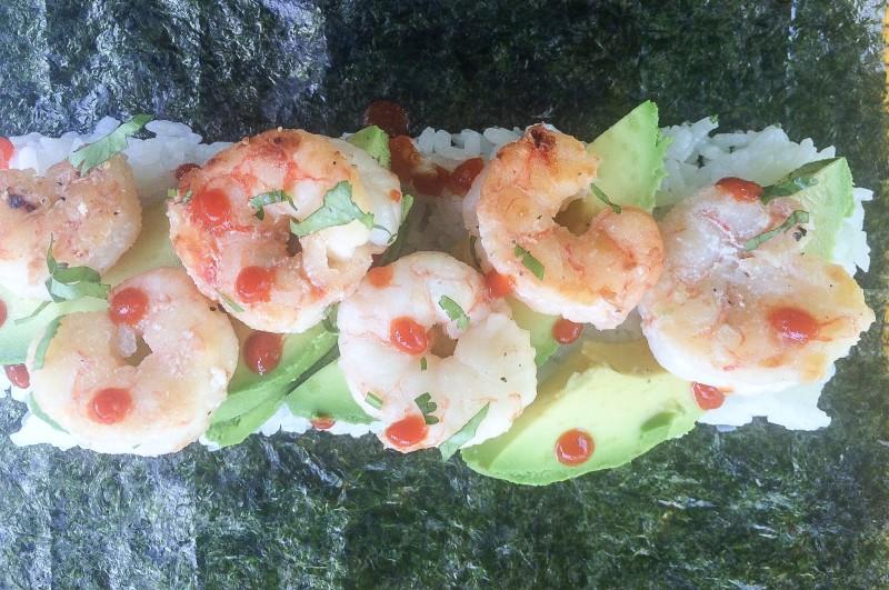 Homemade Sushi Rolls with Shrimp and Avocado
