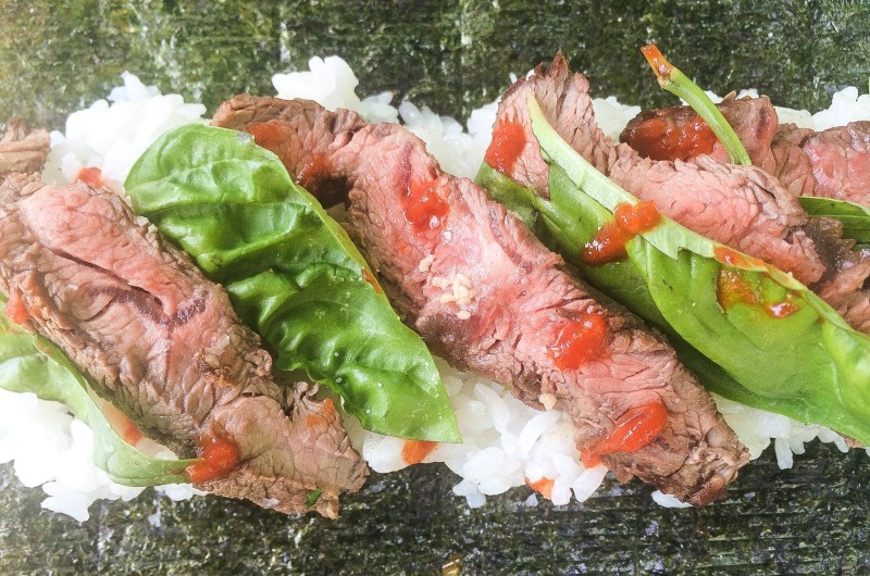 Homemade Sushi Rolls with Flank Steak and Basil