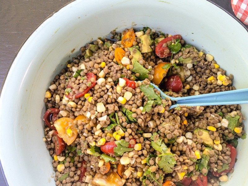 Best of Potluck - Lentils, Corn, Tomatoes and Avocado