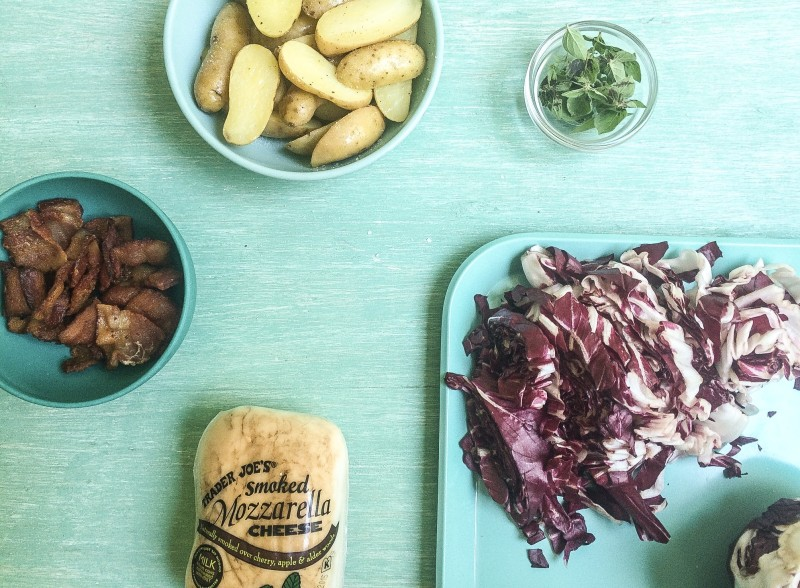 Ingredients for Homemade Pizza with Fingerling Potatoes, Bacon, Smoked Mozzarellaand Radicchio
