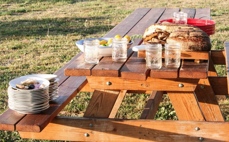PIcnic Table Set up at Farm to Plate Dinner at Kruger Island, Sauvie