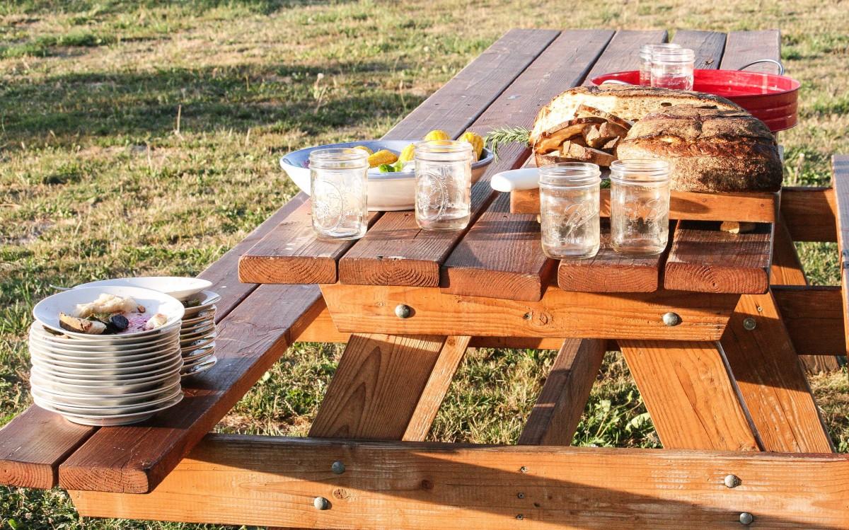 Picnic Table Set Up At Farm To