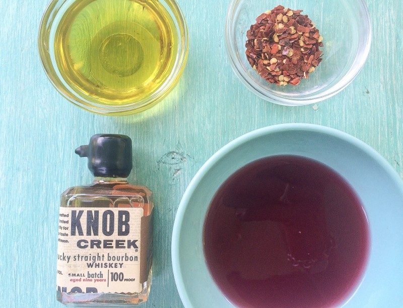 Grill Chicken Marinade: Knob Creek Bourbon, POM juice, Hot Chili Flakes and Olive Oil