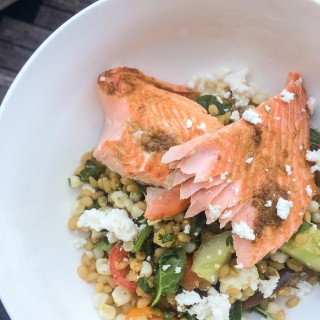 Salmon with Wheatberries, Feta, Cucumbers and Tomatoes