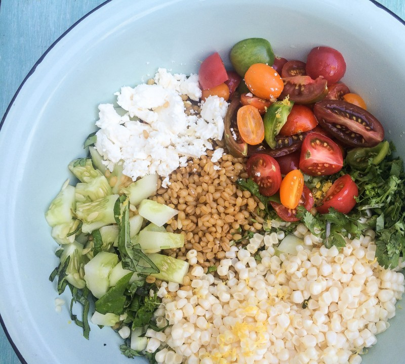 Wheatberry Salad with Tomatoes, Corn, and Cucumbers