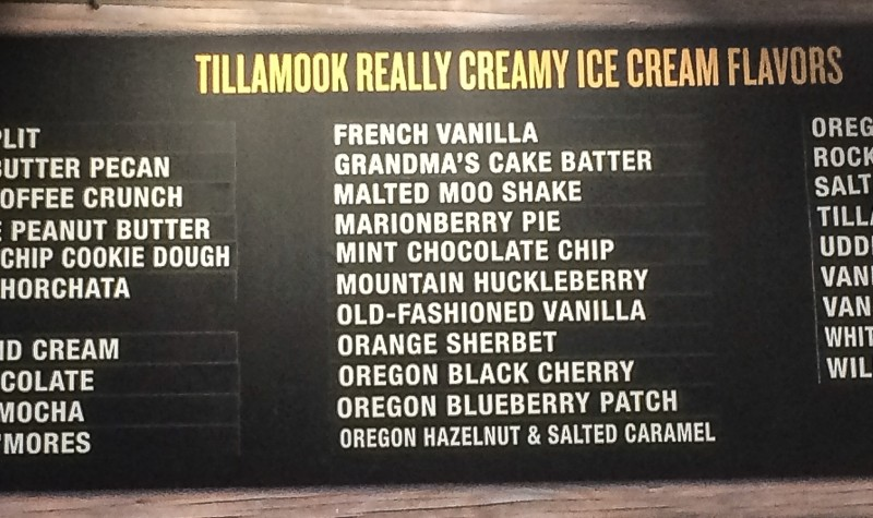 Tillamook Ice Cream Menu Boatd at Tillamook Cheese Factory