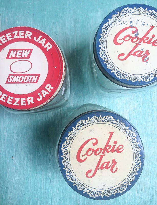 Vintage Glass Jars, 1950's Red and Blue