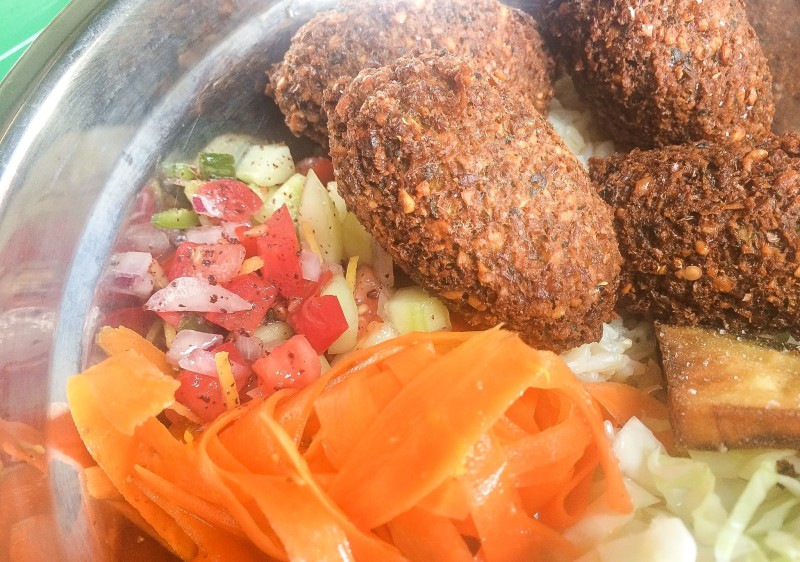 Falafel Bowl with Fried Eggplant and Tomato Cucumber Salad at ChickpeaDX, Portland Zipper