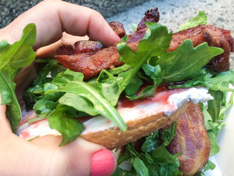 Tastebud Bagel with Bacon, Jam and Arugula at PSU Farmers Market