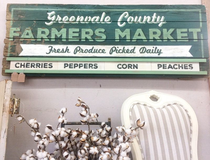 Vintage Green Farmers Market Sign, Monticello Antiques Marketplace