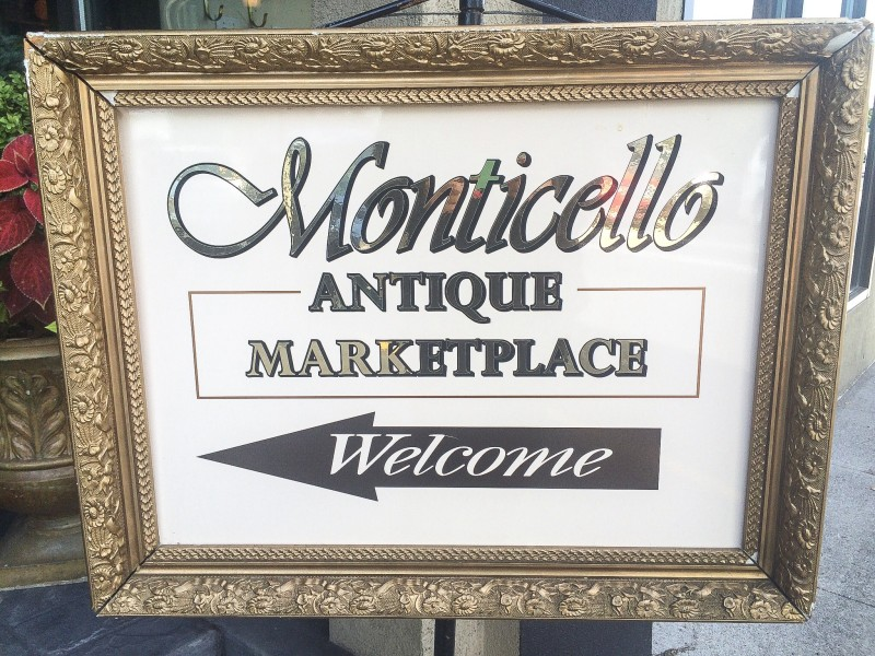 Sign for Monticello Antique Marketplace