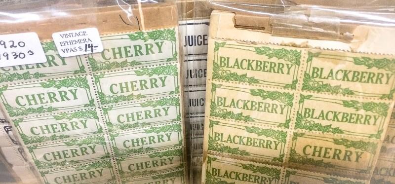 Vintage Produce Labels at Monticello Antique Market, Portland Vintage Ephemera