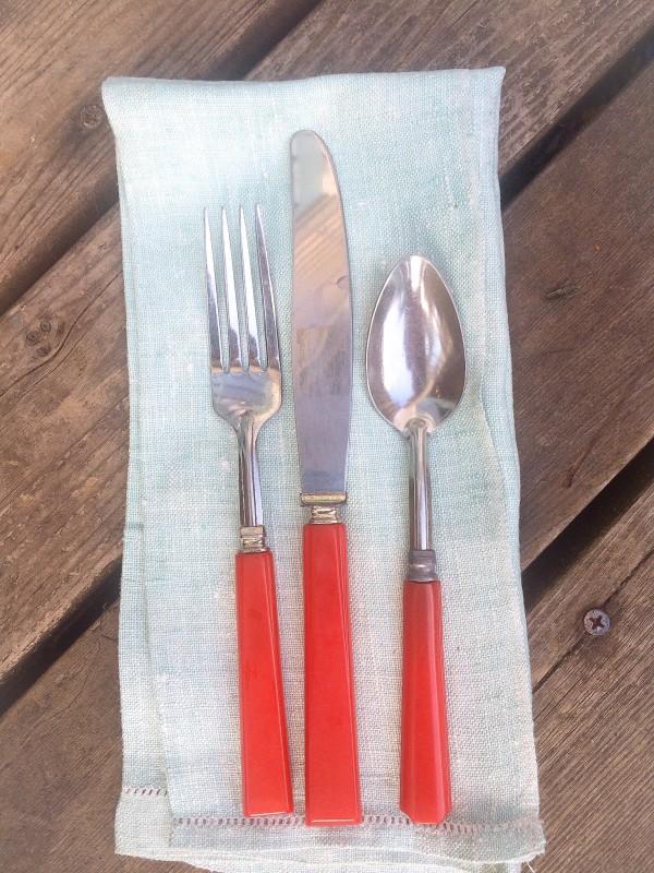 Red Bakelite Flatware and Blue Linen