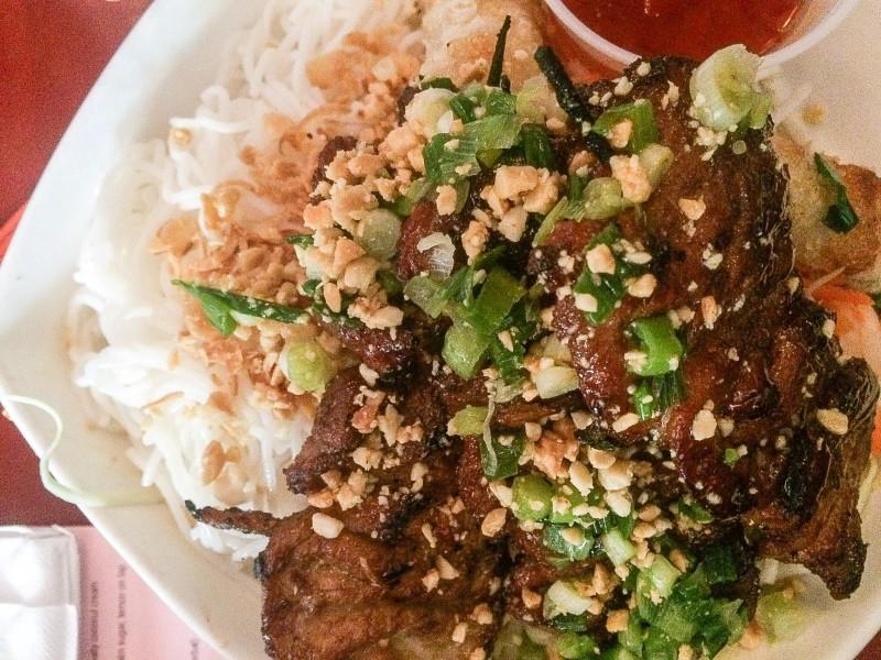 Grilled Pork Bowl Vietnamese at Luc Lac, Portland
