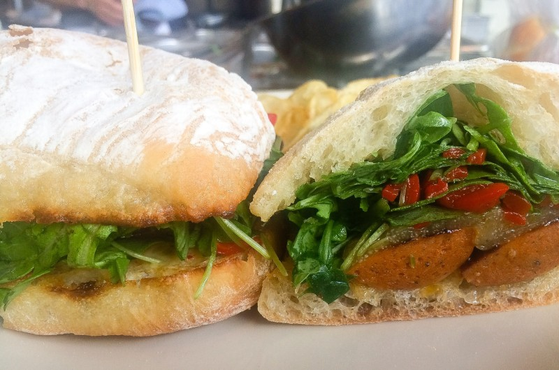 Seared Chorizo Sandwich with Manchego and Piquillo Peppers at Olympia Provisions