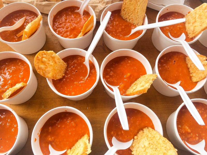 Roasted Tomato Soup with Quinoa and Parmesan Crisps, Picnic