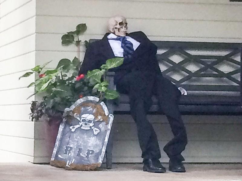 Halloween decorations, skeleton in suit, Portland