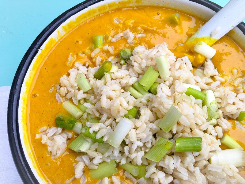 Roasted Curried Butternut Squash Soup with Potatoes, Apple and Brown Rice Soup with Green Onions
