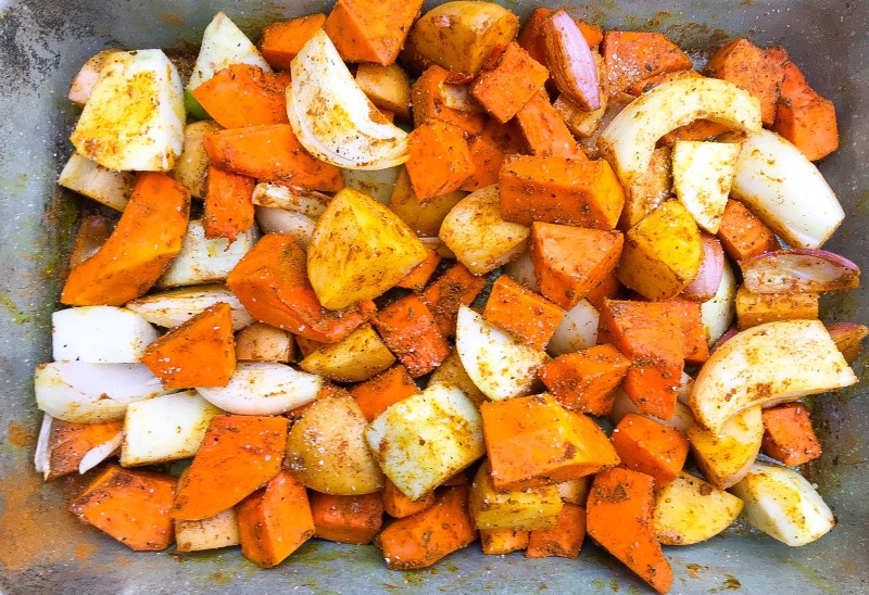 Roasted Curried Vegetables- Butternut Squash Soup, Potatoes, Apples and Onions for Butternut Squash Soup