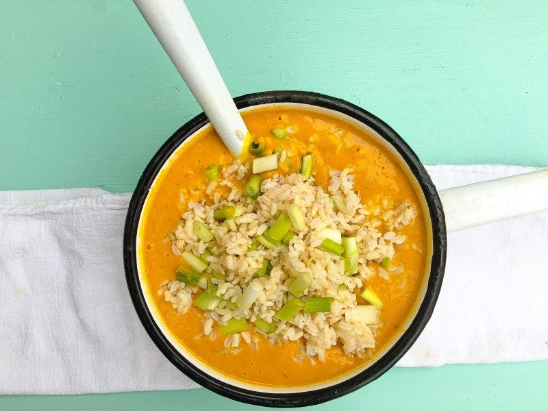 Roasted Butternut Squash, Apple and Potato Soup with Brown Rice