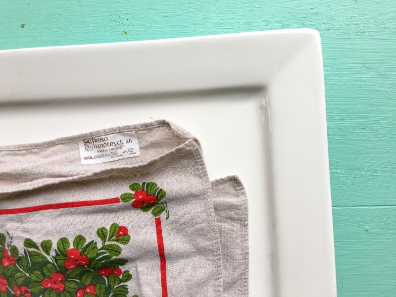 Swedish Towel and White Porcelain Tray from Goodwill, Soup Swap Party