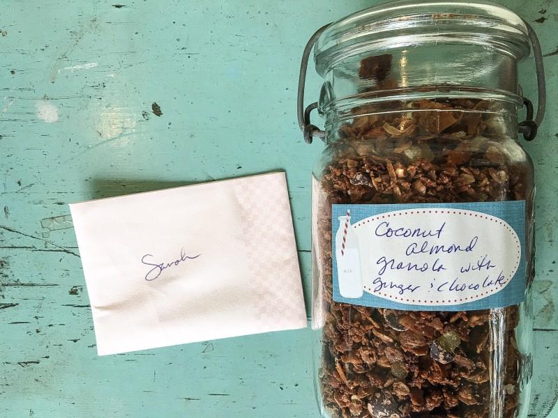 Coconut Almond Granola, Porch Drop off