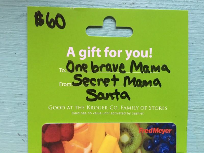 GIft card from Stranger for Needy Family, Portland