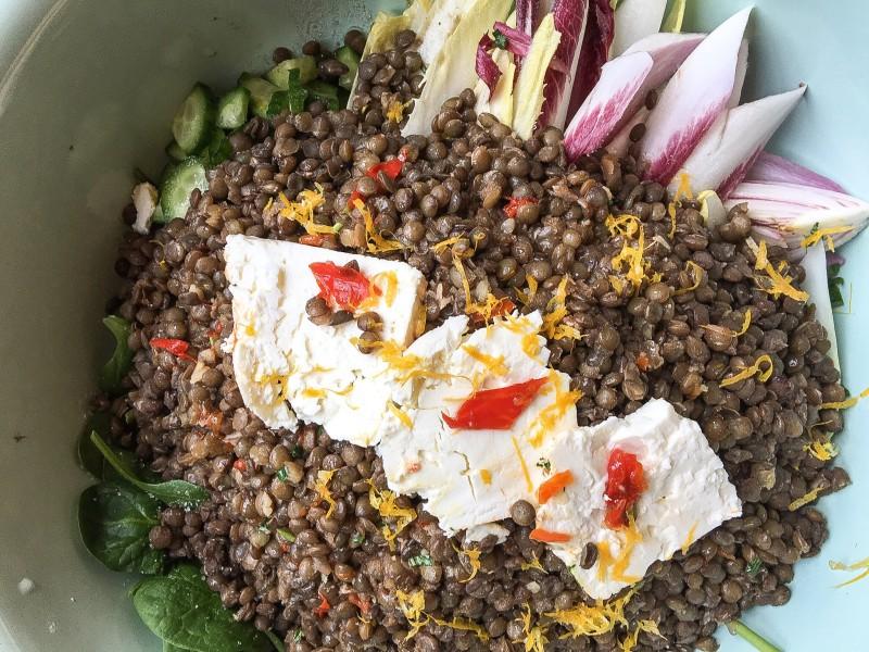 Lentil Salad with Feta and Radicchio