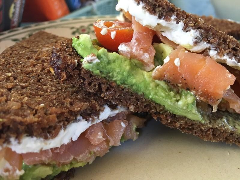 Pumperknickel and Lox Sandwich