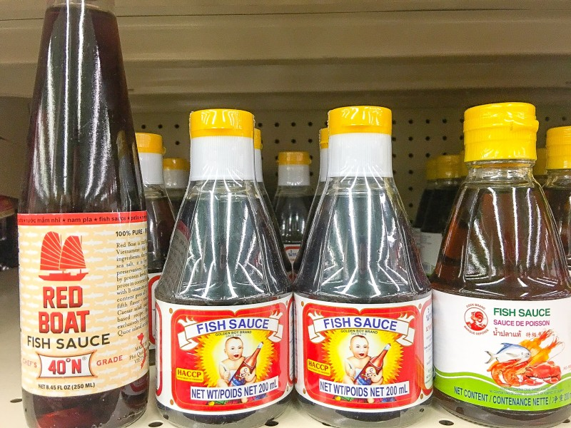 Fish Sauce Selection at Uwajimaya, Beaverton,