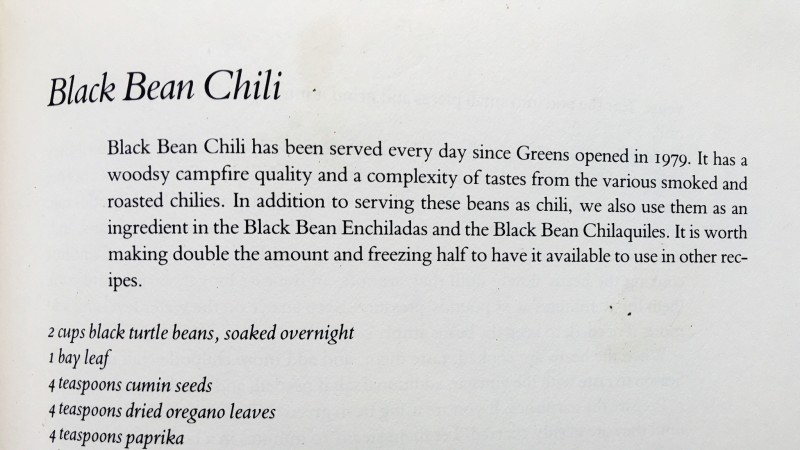 Black Bean Chili From Greens Cookbook