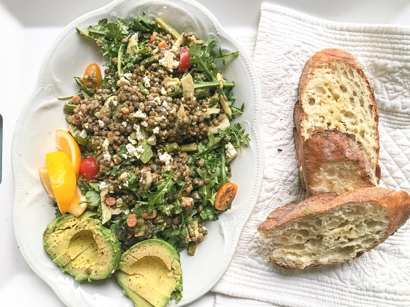 Lentil Salad with Avocado and Garlic Toast