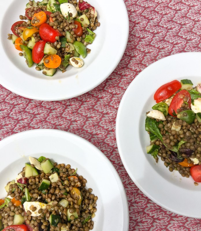 Lentils, Greens, Tomatoes and Fresh Mozzarella Salad for Picnics
