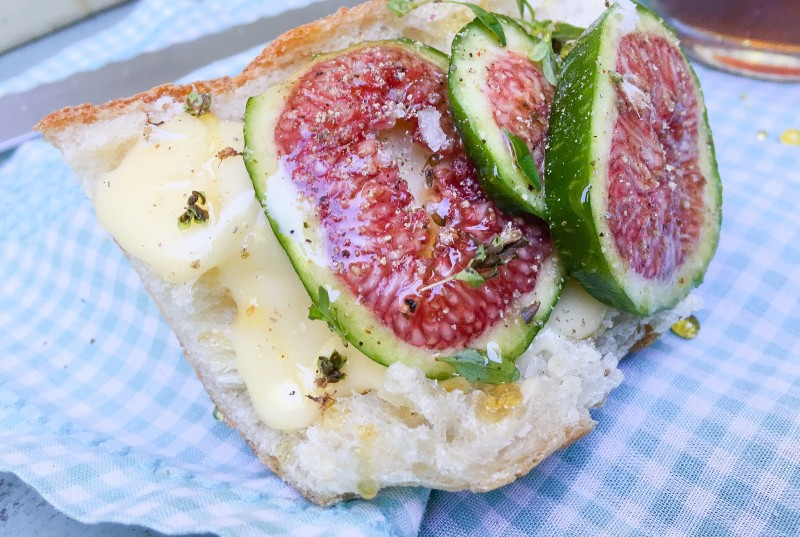 Figs on Baguette with Camembert and Honey