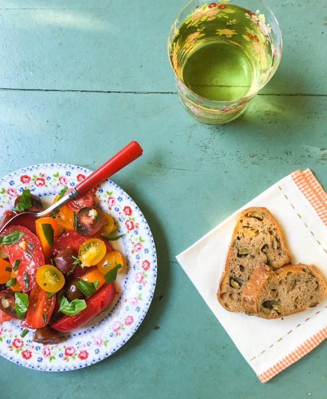 Fresh Tomato Salad and Olive Bread