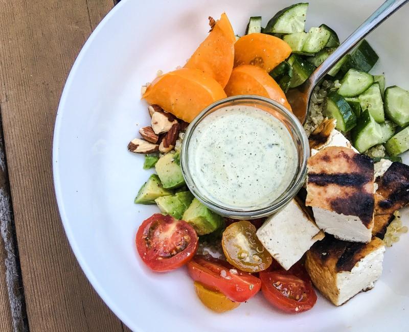 Quinoa Bowl with veggies and marinated tofu