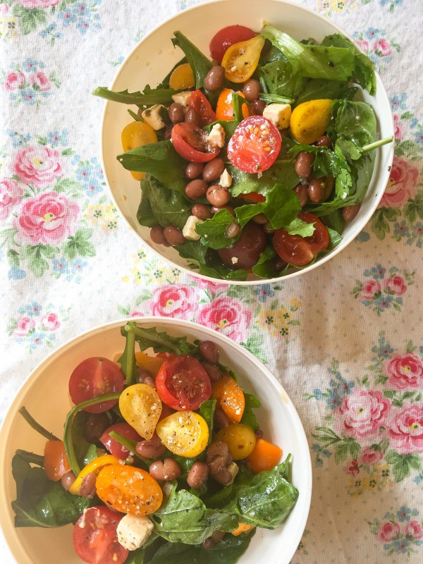 Salad with Beans, Tomatoes, Feta and Arugula -- Bartering