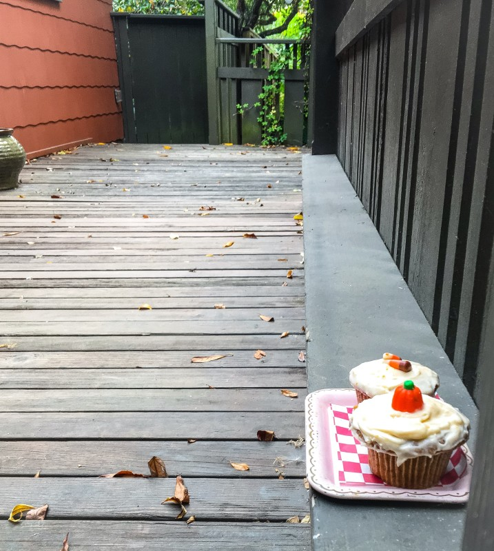 Pumpkin Cupcakes on Porch
