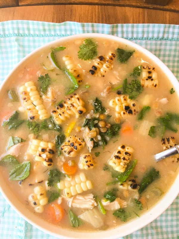 Chicken, Grilled Corn and Lentil Soup
