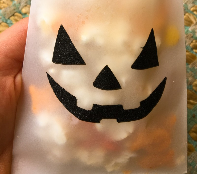 Halloween Snack Mix in Jack O lantern bag