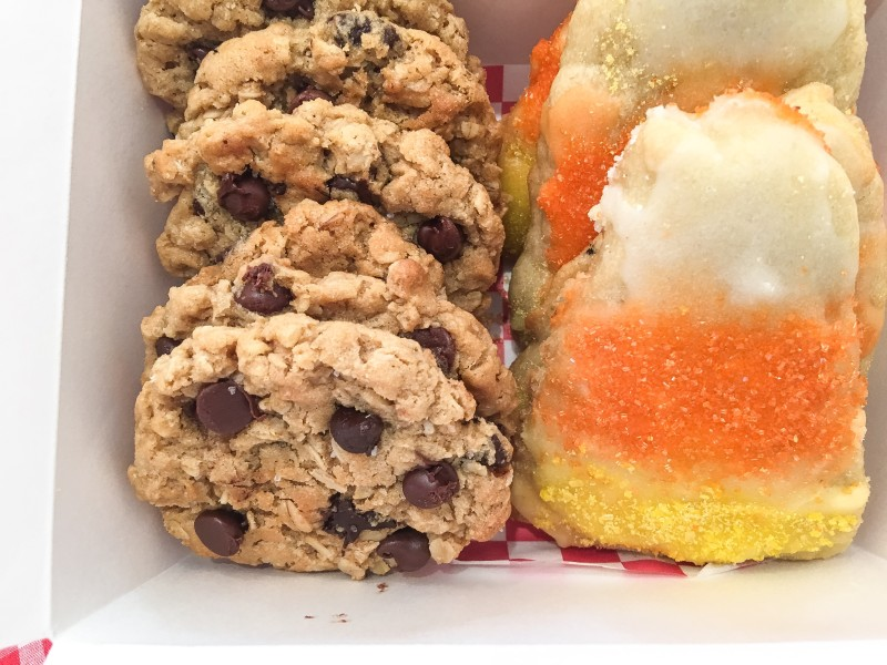 Candy Corn Butter Sugar Cookies, Oatmeal Peanut Butter Cookies for College Care Package
