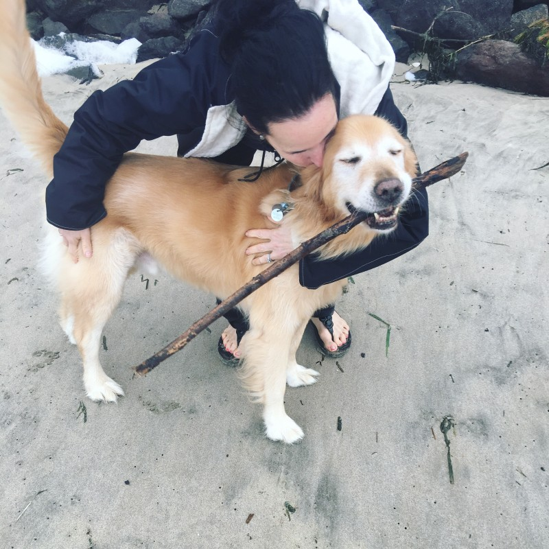 Bailey and me at Beach, Oregon Coast